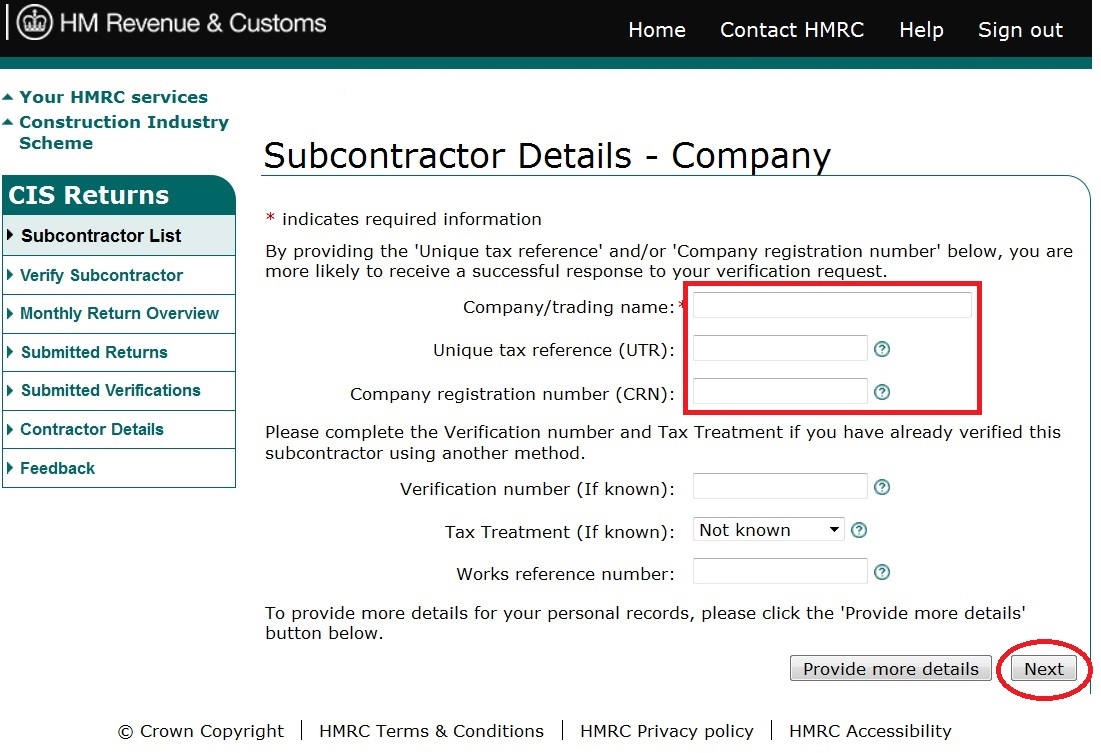 CIS Contractor – How to file CIS return online